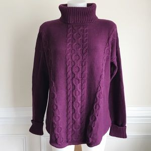 L.L. Bean purple cable knitted turtleneck sweater
